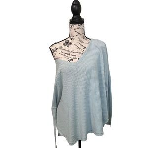 Out from under pale teal waffle long sleeve top M